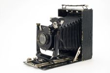 Old Classical Camera With Furs. Royalty Free Stock Photography