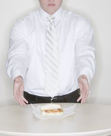 Free Businessman Presenting Sandwich Stock Photo - 5360140