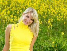 Free Woman In A Flower Field Stock Image - 5360541