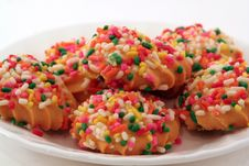 Free Isolated Plate Of Cookies With Sprinkles Royalty Free Stock Photo - 5360785