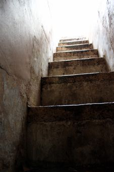 Ancient Stairs In Narrow Passageway Royalty Free Stock Image