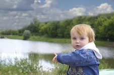 Girl And Lake Stock Images