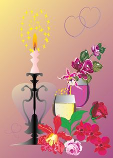 Champagne Glasses And Candle Royalty Free Stock Images
