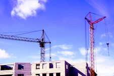 Free The Working Hoisting Cranes. Royalty Free Stock Photography - 5362187