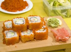 Free Sushi On The Wood Plate Stock Images - 5362444