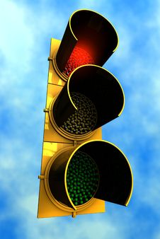 Free Red Traffic Light With Sky Background Royalty Free Stock Photos - 5363818