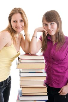 Free The Two Young Students Isolated On A White Stock Photography - 5364362