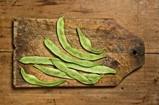 Free Green Beans On Wooden Table. Stock Image - 5364441