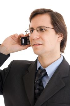 Free The Young Businessman Talking By Phone Isolated Stock Images - 5364644