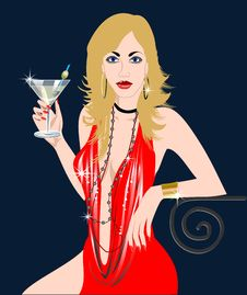 Free Woman With Martini Drink Royalty Free Stock Photos - 5365568