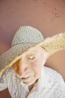 Senior Citizen Man In A Cowboy Hat Royalty Free Stock Photography