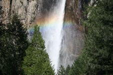Free Colorful Rainbow Over Yosemite Fall Royalty Free Stock Photography - 5366887