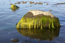 Green Colored Stones In Blue Sea Royalty Free Stock Photos