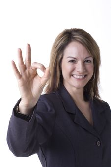 Free Businesswoman Giving The OK Sign Royalty Free Stock Photo - 5368655