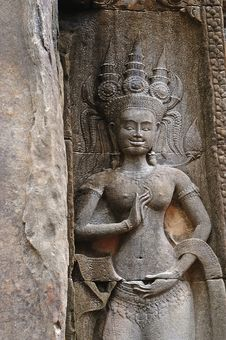 Free Cambodia Angkor Chau Say Tevoda Temple Bas Reliefs Stock Images - 5369424