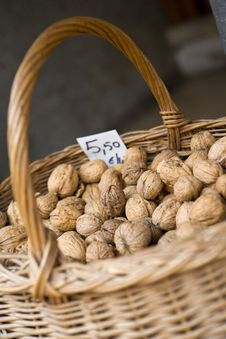 Free A Basket Of Walnuts For Sale Royalty Free Stock Image - 5369786