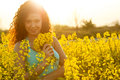 Free Beautiful Happy Woman In Canola Field In Sunny Day Stock Photo - 53676500