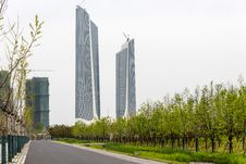 Free Twin Towers Nanjing Youth Olympic Center Royalty Free Stock Photos - 53699928