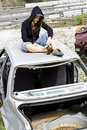Free Young Woman In The Scrapyard Royalty Free Stock Photography - 5371897