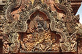 Free Cambodia Angkor Banteay Srey Carved Pediment Royalty Free Stock Photography - 5372437