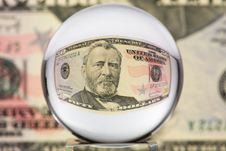 Glass Sphere, Dollar, Two Stock Image