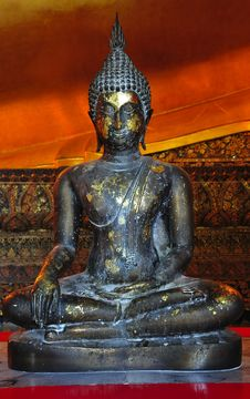Thailand Bangkok Wat Pho Temple Seated Buddha Royalty Free Stock Image