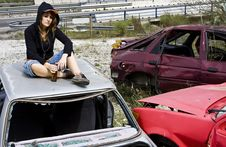 Free Young Woman In The Scrapyard Stock Photo - 5371870