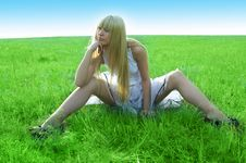 Beauty Young Woman Jump In Field Stock Image