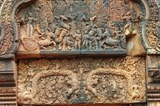 Free Cambodia Angkor Banteay Srey Carved Pediment Stock Photo - 5373840