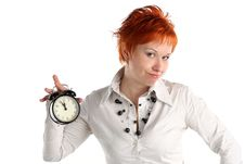Free Business Woman With Clock. Royalty Free Stock Photos - 5374448