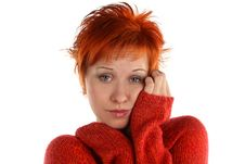 Free Sad Red Haired Woman Stock Photo - 5374480