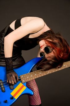 Free Musician With Bass Guitar Stock Photography - 5374552