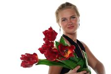 Free Woman In Dress With Tulips Stock Photography - 5375052