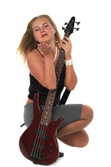Blond Woman With Guitar Stock Photography