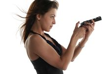 Free Young Woman With Revolver Stock Image - 5375431