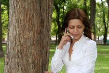 Free Woman Is Talking By Mobile Stock Image - 5375571