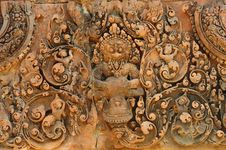 Free Cambodia Angkor Banteay Srey Carved Pediment Stock Photo - 5377390