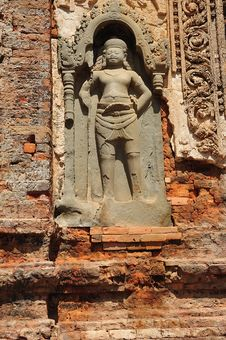 Cambodia Angkor Preah Ko Temple Carved Wall Stock Images