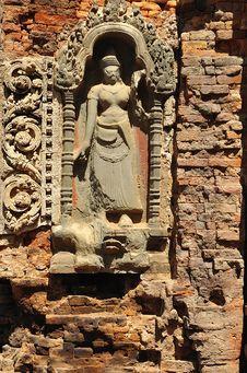 Free Cambodia Angkor Preah Ko Temple Carved Apsara Stock Images - 5377614