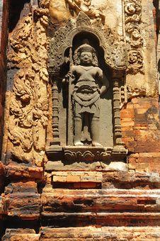Cambodia Angkor Preah Ko Temple Carved Wall Stock Photos