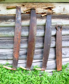 Free Old Two-handled Saws Royalty Free Stock Photos - 5377788