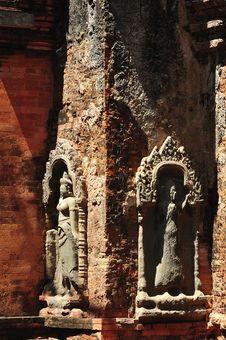Cambodia Angkor Preah Ko Temple Carved Apsara Royalty Free Stock Photography