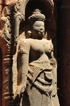 Free Cambodia Angkor Preah Ko Temple Carved Apsara Stock Photography - 5377812