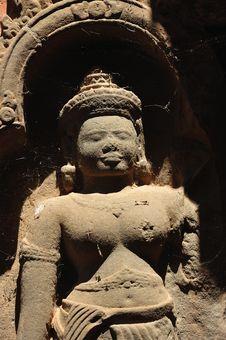 Cambodia Angkor Preah Ko Temple Carved Apsara Stock Photography