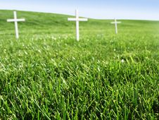 Free Cemetery Field With White Crosses Stock Photo - 5377890