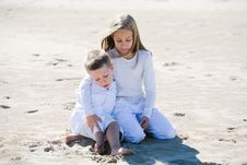 Free Protective Girl With Her Younger Brother Stock Image - 5378511