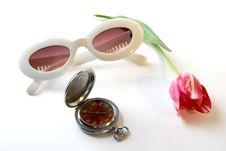 Watch Tulip And Sunglasses Stock Image