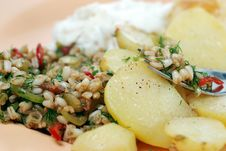 Free Wheat Salad And Baked Potato Stock Images - 5379204
