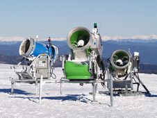 Snow Cannons On A High Mountain Stock Images