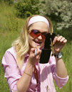 Free Beautiful Woman Applying Lipstick Royalty Free Stock Images - 5388899